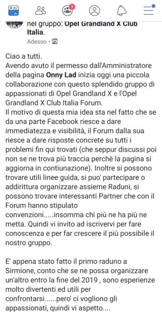 "Gruppo Facebook ""Opel Grandland X Club Italia"" Screen11"