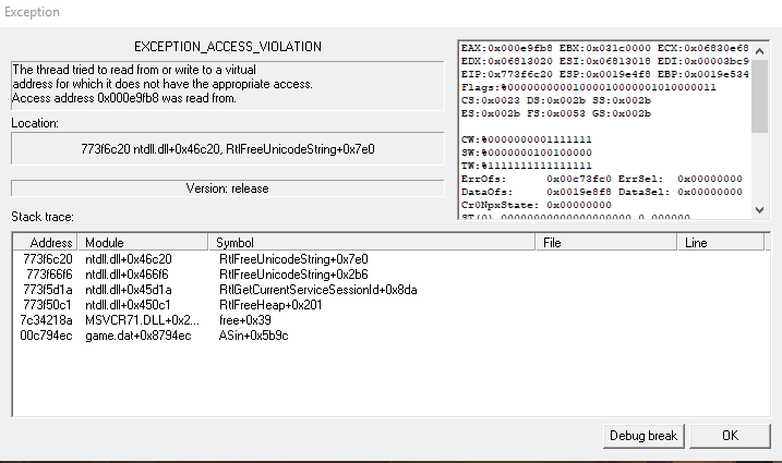 'EXCEPTION_ACCES_VIOLATION' During First Startup Option10