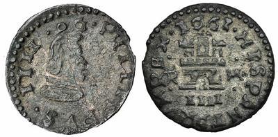 4 maravedís de Felipe IV de Trujillo, 1663. 14209710