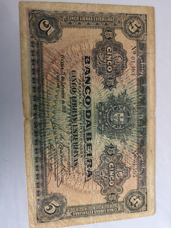 5 Libras Esterlinas Ouro 1919 Mozambique (Banco da Beira) 16038810