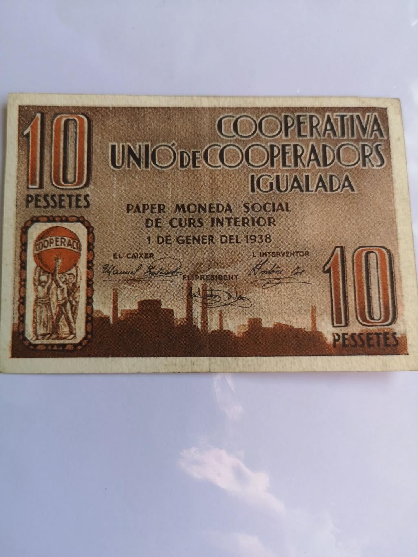 10 pesetas Unió Cooperadors Igualada, 1938 16339410