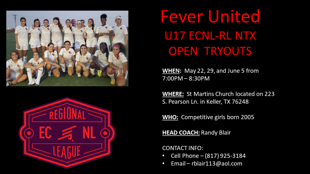 Fever United U17 ECNL RL-NTX Open Tryouts Fever_10