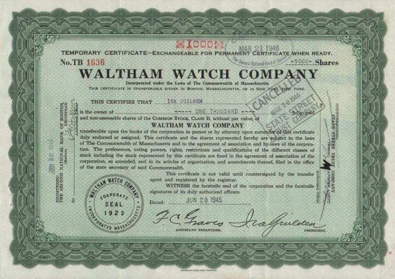 L'histoire des manufactures américaines ...A la conquête de l'Ouest Horloger Waltha19