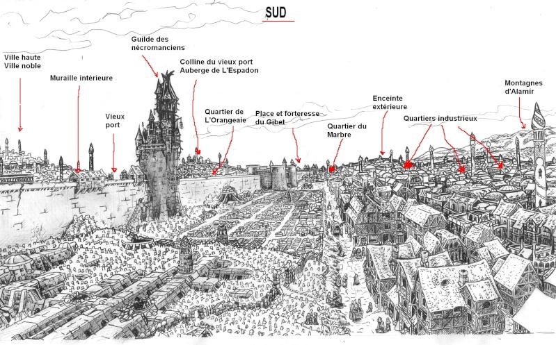 Vue large tour nécromanciens et description du quartier Necrop14