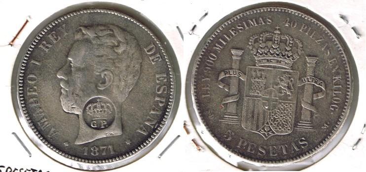 5 Pts Amadeo I (Madrid, 1871 d.C) Resello GP ¿Falsa? Cci00010