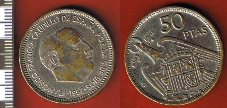 50 pesetas - 50 Pesetas de Franco (Madrid, 1957)  falsa de época. Cci00057