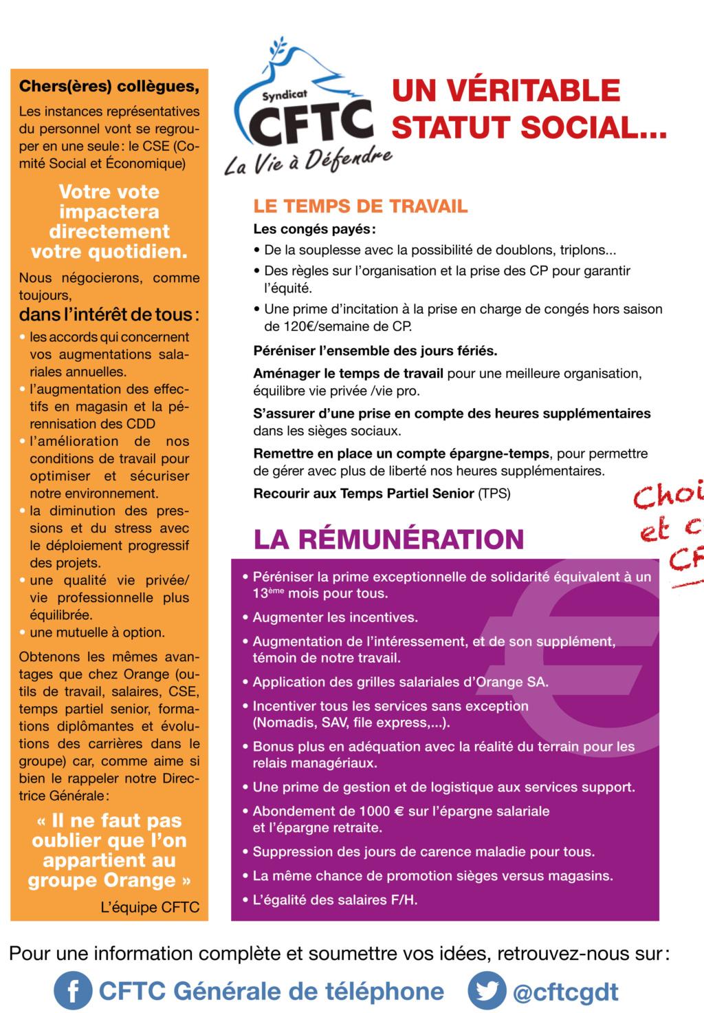 Elections CSE Générale de Téléphone,1er tour du 04 novembre (à partir de 10H00 ) au 12 novembre 2019 (jusqu'à 12H00). P210