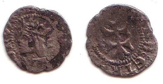 2 Dineros de Juana y Carlos I (Aragon, 1516-1555) Carlos10