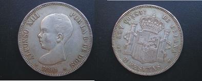 5 Pts. de Alfonso Xll (Madrid, 1885 d.C) ¿falsa? Falso_10
