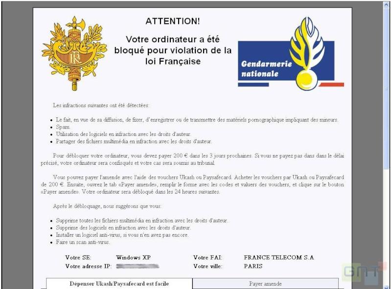 [TROJAN] Escroquerie avec logo gendarmerie Gendar10