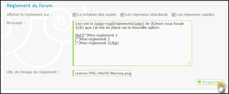 Nouveau: Règlement spécifique a chaque sous forum, Coloration syntaxique du CSS & Templates, Optimisation du systhème AntiSpam et de la gestion des JavaScripts. 03-10-11