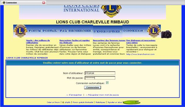 COMMENT NAVIGUER SUR LE FORUM LIONS RIMBAUD Connex13