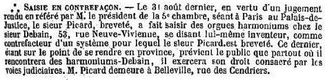 Le procès en contrefaçon de Debain - 1845 Contre10