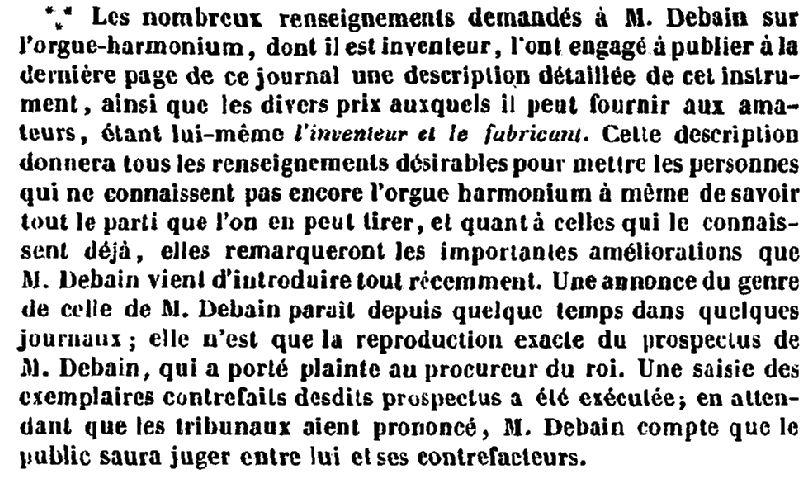 Le procès en contrefaçon de Debain - 1845 Debain10