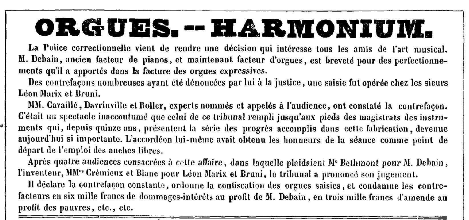 Le procès en contrefaçon de Debain - 1845 Debain11