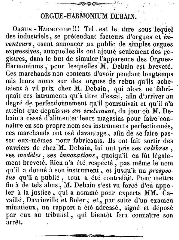 Le procès en contrefaçon de Debain - 1845 Debain14