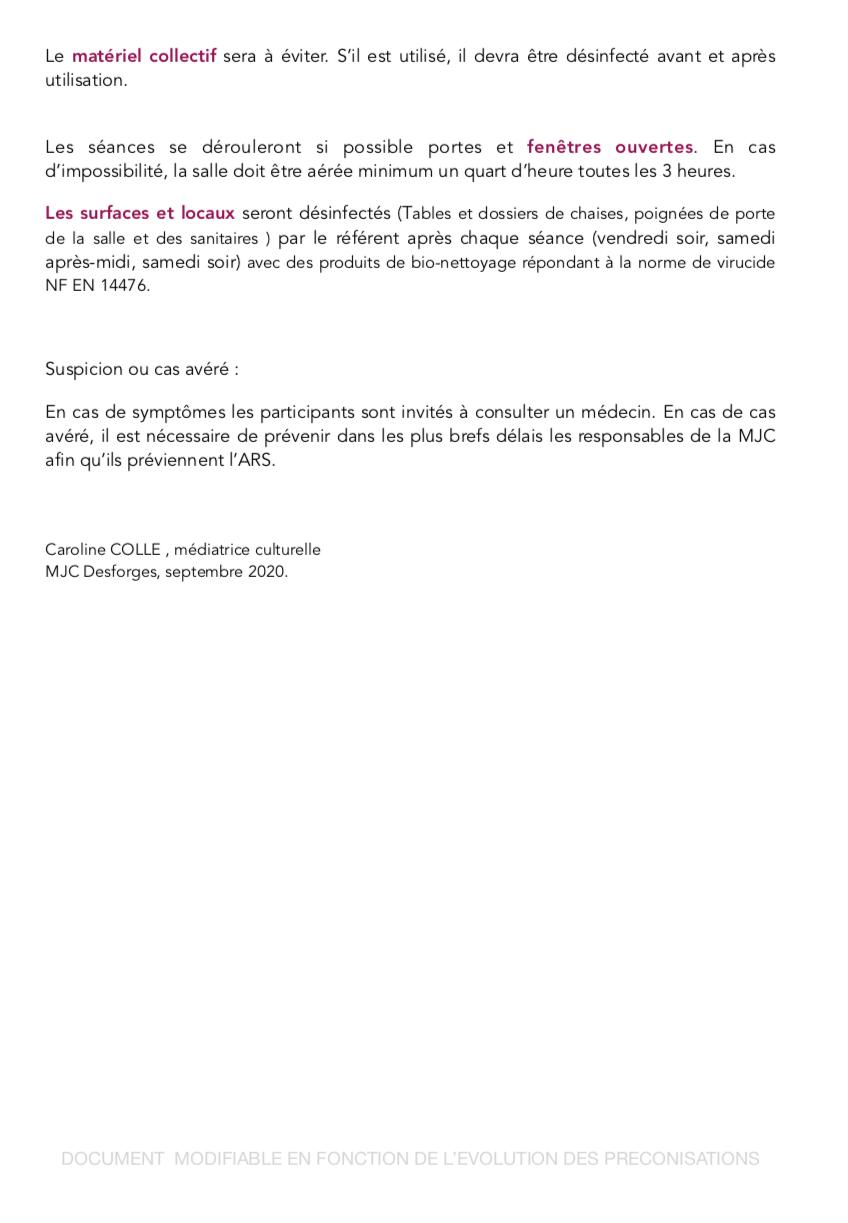 Protocole sanitaire COVID pour l'année 2020-2021 Page210