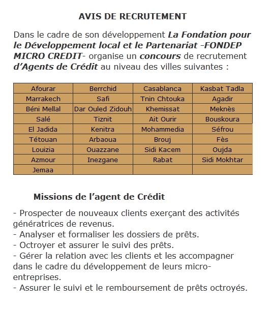 مؤسسة التنمية المحلية و الشراكة سلف البركة: مباراة توظيف وكلاء القروض. آخر أجل هو 25 فبراير 2012 Fondep10