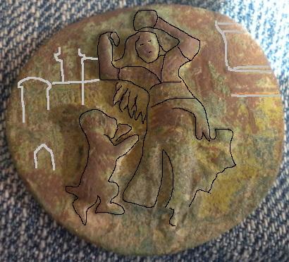 bouton en métal repoussé milieu du XIXe Esmeralda dansant avec sa chèvre devant Notre Dame de Paris. Dscn3910