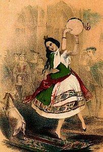 bouton en métal repoussé milieu du XIXe Esmeralda dansant avec sa chèvre devant Notre Dame de Paris. Esmera10