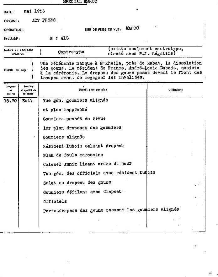 12 mai 1956 - Dissolution des Goumiers & integration aux FAR Clipb434