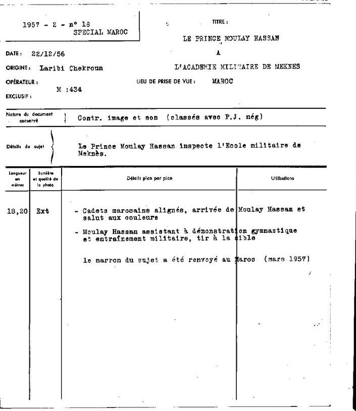 22/12/1956 - Visite du prince héritier Moulay Hassan à l'ARM Clipb435