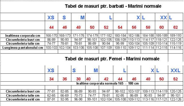 Tabel de masuri - Constitutie normala Masuri12