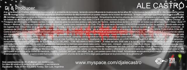 WWW.MYSPACE.COM/DJALECASTRO : GIGS & INFO Ale_0712