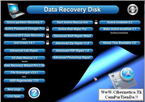 Ultimate Recovery CD 2008 (Bootable) Cdreco10