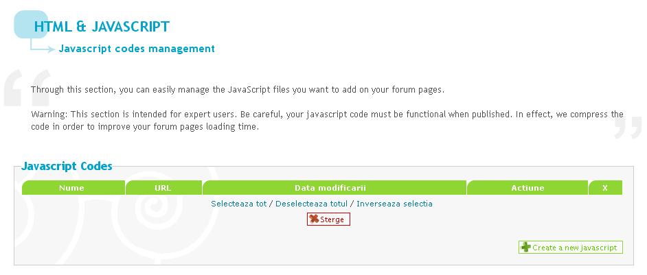Actualizare noua: administrarea codurilor Javascript, protectie anti-spam si widget Google+ 110