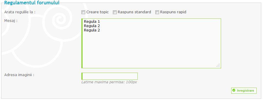 Actualizari noi: Reguli specifice fiecarui forum, posibilitatea dezactivarii codurilor JS, optimizare footer si altele Reguli10