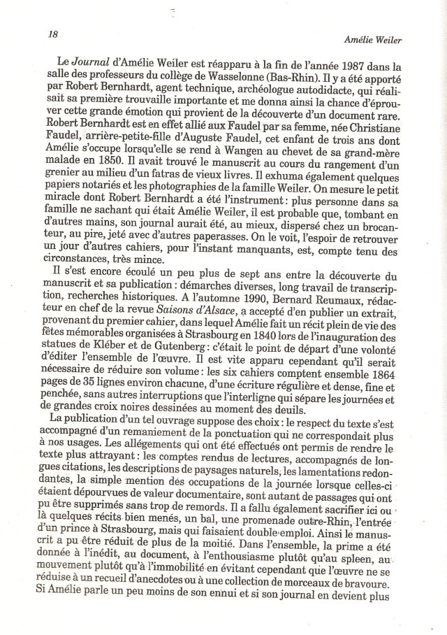 Journal d'une jeune fille mal dans son siècle de Amélie WEILER 1812