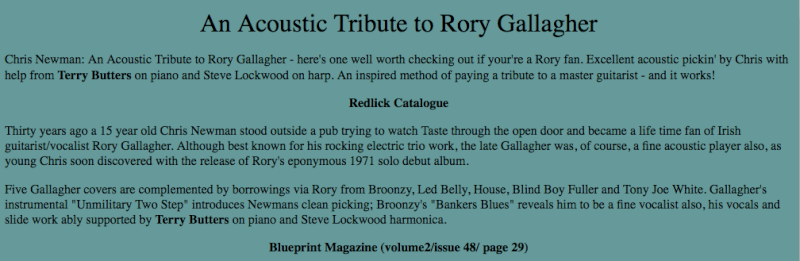 Chris Newman - An Acoustic Tribute To Rory Gallagher (2001) Image140