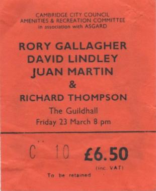 Photo de Dino McGartland - Guildhall - Cambridge (UK) - 23 mars 1984 Image324