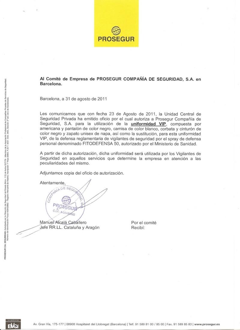 La Unidad Central de Seguridad Privada autoriza a Prosegur a utilizar UNIFORMIDAD VIP Escane10