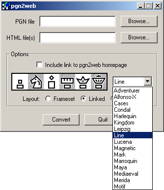 pgn2web v0.4 (for converting PGN files to webpages) Window10