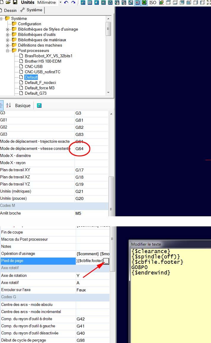 edition du g-code et insersion de code  CAMBAM Sans_139