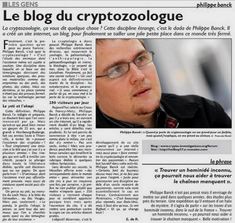 cryptozoologie cryptozoology Hombourg Budange Thionville Hayange le blog du cryptozoologue interview article Philippe Banck Mind août 2011 site internet présentation