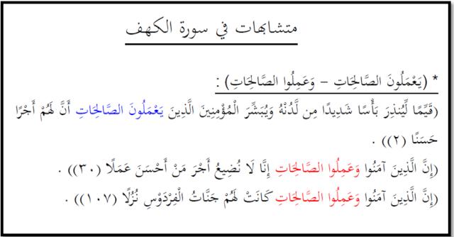 Les versets qui se ressemblent dans la Sourate al Kahf Untitl13