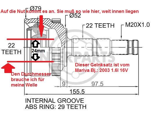 [Corsa] Antriebswelle Gelenksatz aussen links (Problem) Oj-13310