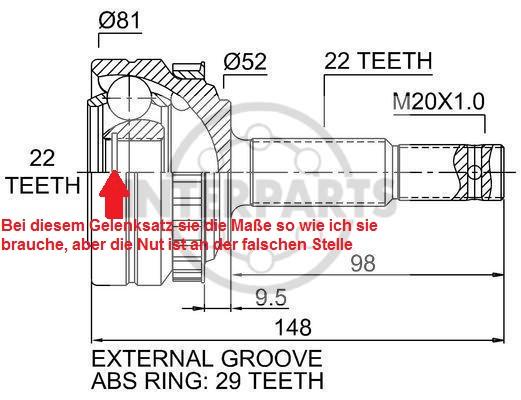 [Corsa] Antriebswelle Gelenksatz aussen links (Problem) Oj-14110