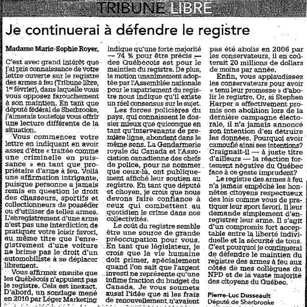 Cyberpresse: Le registre des armes à feu n'est pas la solution  - Page 2 666610