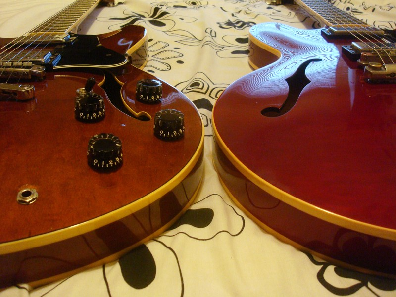 A Gibson 335 and a Westone Rainbow 1 side by side 0210