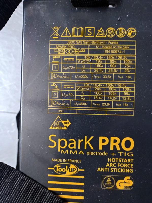 [VENDU] Poste soudure Inverter Spark Pro MMA - TIG  160 A Img_2160