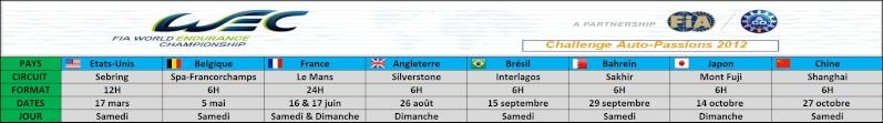 Challenge FIA WEC 2012 Auto-Passions  Calend11