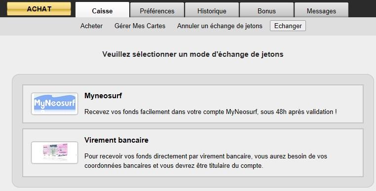 MyNeosurf pour le paiement des gains sur 770 Caisse10