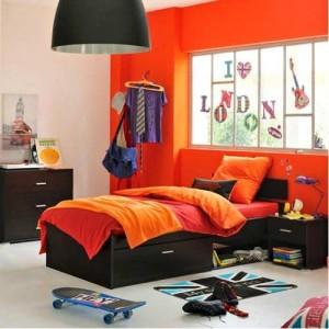 Une chambre d'adolescente jaune ou orange Chambr10