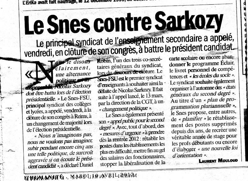 Le syndicat SNES-FSU appelle à voter contre Sarkozy Asnes010