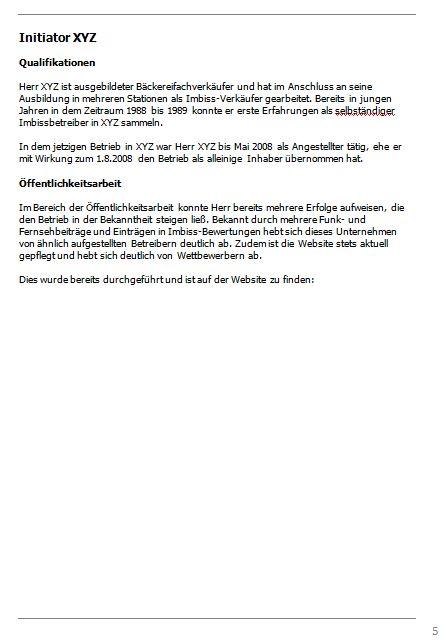 Businessplan-Praxisbeispiel: Vom Imbissbetrieb zur Erlebnisgastronomie Busine36