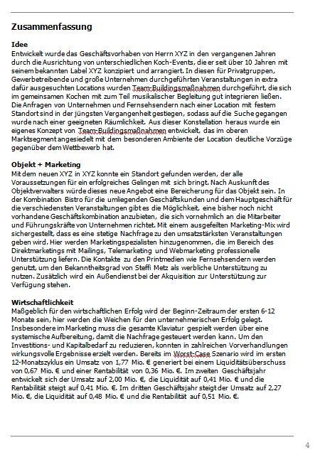 Businessplan-Praxis-Beispiel: Vom Kochevent zum Veranstaltungs-Unternehmen Busine66